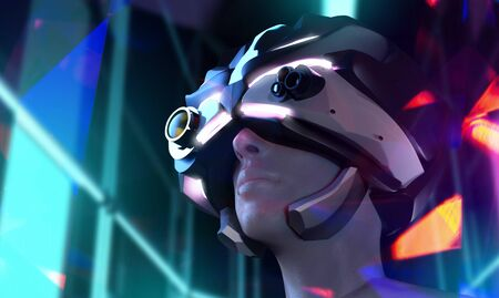 Three dimensional illustration on a futuristic sci-fi female face in helmet on neon city buildings on background, angle view.