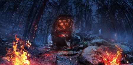 Scary mysterious image of a night witch forest with totem, runes, bonfires and fog, panoramic wide view.