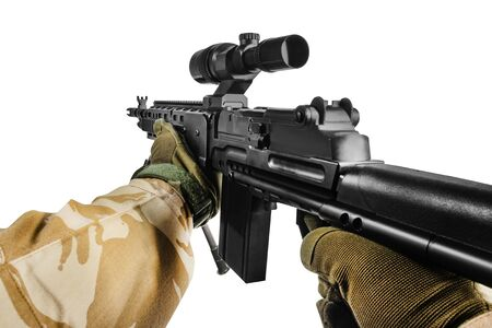First person view shooter desert soldier hands in camouflaged shirt and tactical gloves holding sniper rifle isolated on white background.