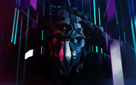 Photo of a robotized futuristic soldier putting on mask on neon light background.
