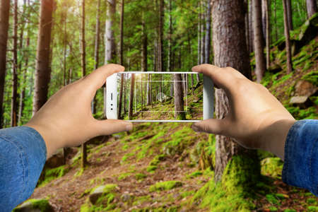 First person view photo of a male hand in jeans shirt holding smartphone and taking photo in forest.