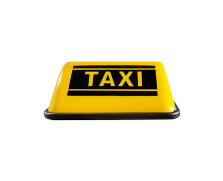 Photo of Isolated yellow taxi sign on white background.