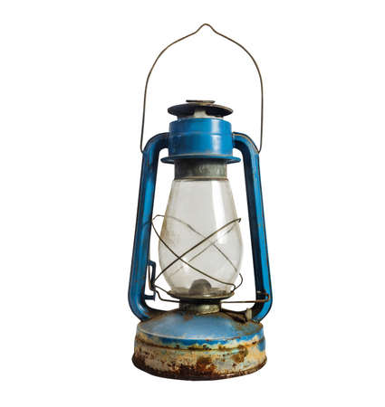 Photo of isolated grungy old fashioned blue gas lamp on white background.