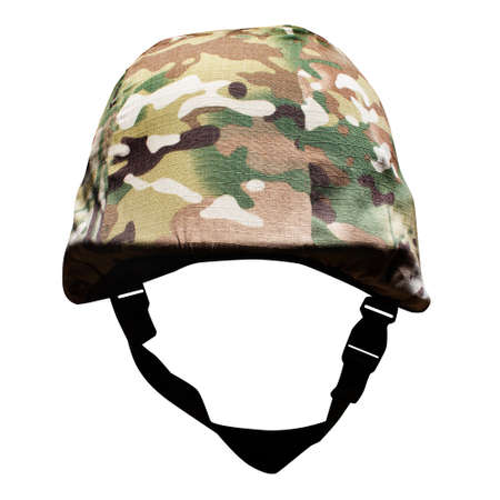 Photo of isolated soldier war camouflaged helmet in cover on white background.
