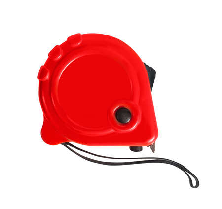 Photo of isolated red plastic measuring roulette tool side view on white background.
