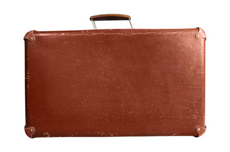 Photo of isolated old fashioned suitcase side view on white background.
