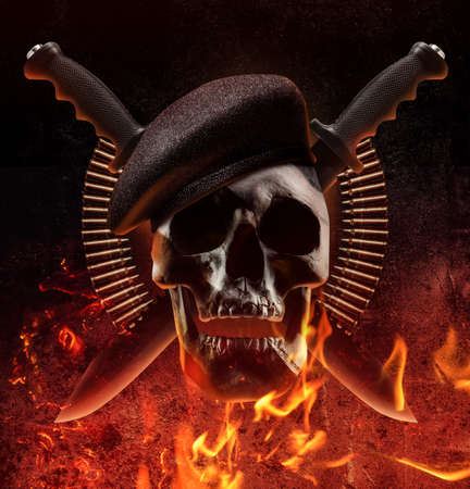Photo collage of human skull with beret, knives and bullet shells on fre background.
