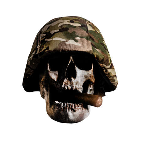 Photo of isolated soldier skull in war camouflaged helmet with cigar on white background.