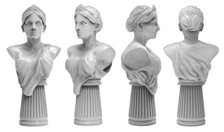 3d render image illustration of a greek female marble bust statue in different angles.