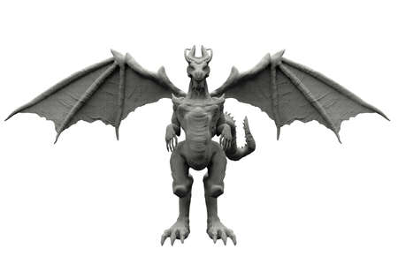 Isolated 3d render image illustration of stone dragon statue front view on white backround.