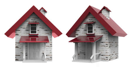 Isolated 3d render image of a house with red roof on a white background. Stockfoto