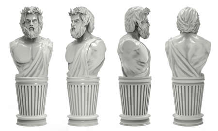 3d render image illustration of a greek male marble bust statue in different angles.