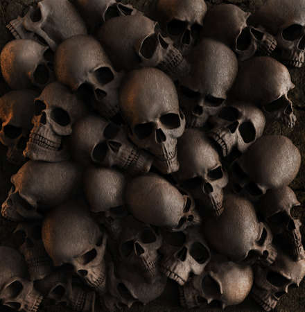 3d render backdrop image illustration of wall made of skulls. Stockfoto