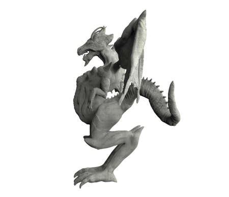 Isolated 3d render image illustration of stone dragon statue side view on white backround. Stockfoto