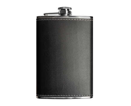 Isolated photo of a stainless steel hip flask in leather case on white background.