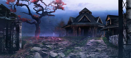 Horror background image of fantasy witch village on evening mountain woods land with scary crimson colored tree and mist. Stockfoto