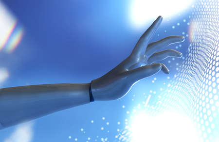3d rendered illustration of humanoid robot hand touching cyber technological net.