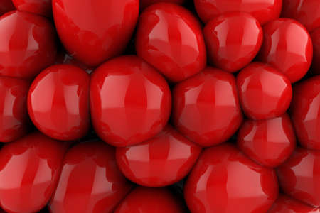 3d render illustration of red rubber ballons texture backdrop image.