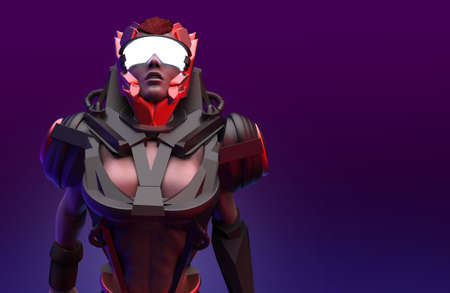 3d render lowpoly illustration of sci-fi warrior woman in futuristic robot armored suit and glasses on red background. Stockfoto