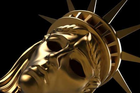 Close-up 3d render illustration of Statue Of Liberty golden carnival mask on black background.