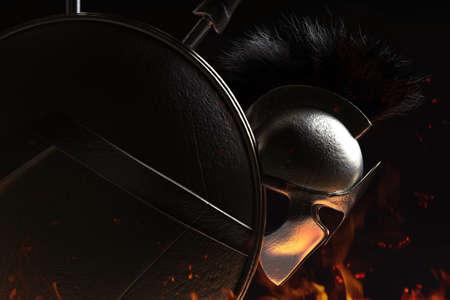 3d render illustration of spartan armored helmet and shield shaded on dark burning background.