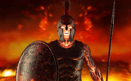 3d render illustration of spartan fire king demigod in armor and helmet, holding spear and shield on battlefield background.