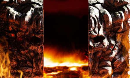 3d render illustration of fantasy horned demon skull helish gates opening with fire background.