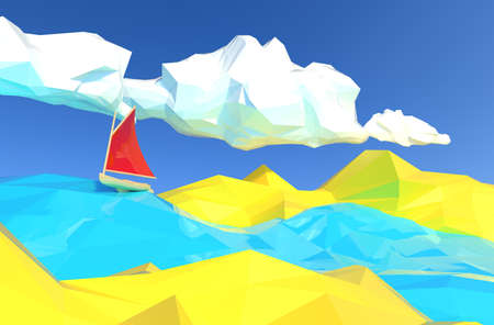 Lowpoly 3d render illustration of boat with red canvas sailing in ocean with yellow islands.