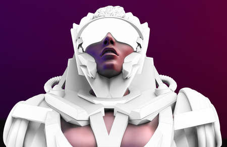 3d render illustration of sci-fi warrior woman in futuristic robot armored suit and glasses on dark blue and purple background. Stockfoto