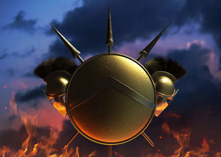 3d render illustration of spartan armored helmet, shield and spears on evening skies background.