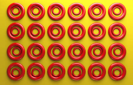 3d rendered illustration of abstract red circles on yellow backdrop texture.