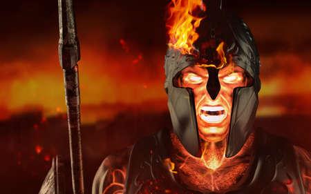 3d render illustration of spartan fire king demigod face in armor and helmet, holding spear on battelfield background. Stockfoto