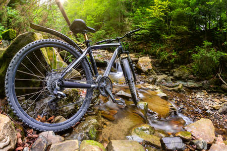 Photo of mountain bicycle standing in forest river landscape background.