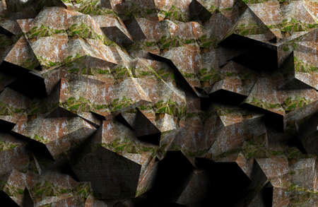 3d render illustration of lowpoly stone textured wall. Stockfoto