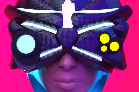 3d render illustration of sci-fi cyberpunk woman face in futuristic robot helmet and glasses on pink and red background. Stockfoto