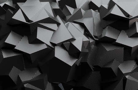 3d render illustration of lowpoly geometric shaped, black and white colored backdrop texture.