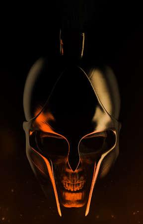 3d render illustration of spartan warrior skull in helmet composition on dark background. Stockfoto