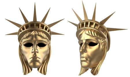 Isolated 3d render illustration of Statue Of Liberty golden carnival mask on white background.