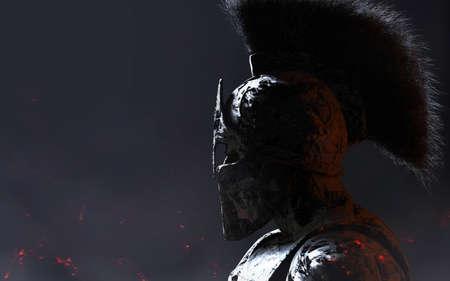 3d render illustration of stone spartan warrior in helmet statue on dark background. Stockfoto