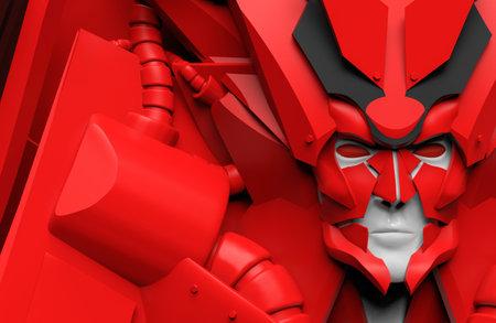 3d render illustration of futuristic alien red colored humanoid robot portrait in suit.