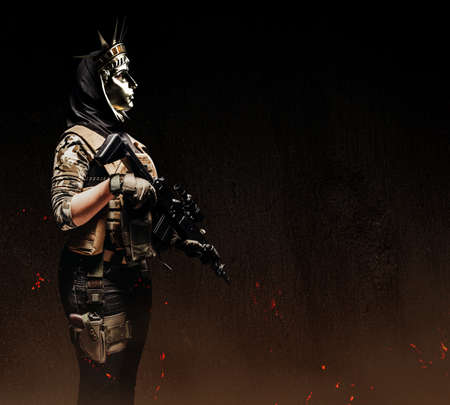 Photo of female soldier in ammunition and Statue of Liberty golden mask holding rifle on dark background side view.