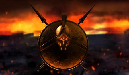 3d render illustration of spartan armored helmet, shield and spears on burning battlefield background. Stockfoto