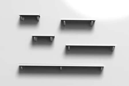 3d render illustration of white empty shelves on white wall background with copy space.