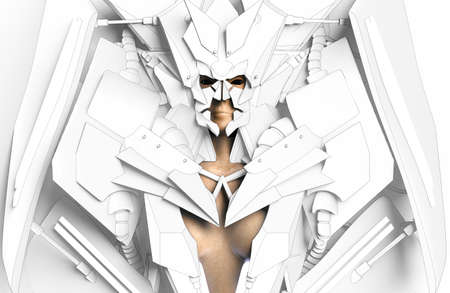 3d render illustration of female robot humanoid goddess creature in white futuristic lowpoly suit and helmet.