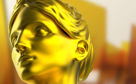 3d render illustration of golden ancient greek female face statue close-up. Stockfoto