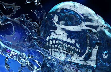 3d render illustration of human skull made of ice in water splashes close up view. Stockfoto