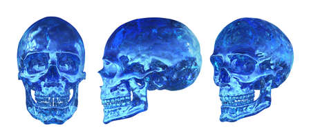 Isolated 3d render illustration of human skull made of ice in defferent angles. Stockfoto
