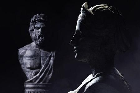 3d render illustration of antique greek female and male gods sculptures on dark background.