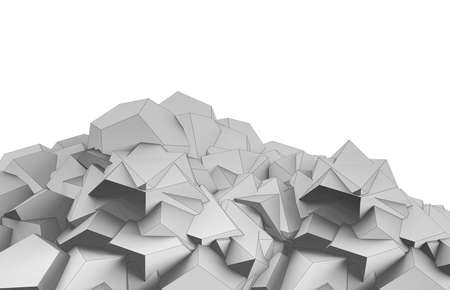 3d render illustration of lowpoly geometrical shape hill.