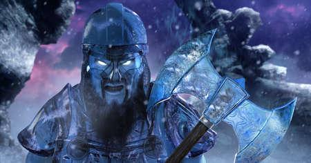 Fantasy 3d render illustration of ice viking demigod holding sharp axe made of ice on winter mountains background. Stockfoto